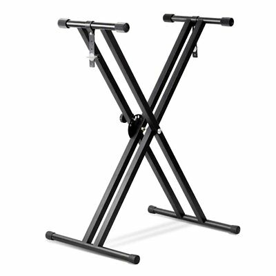 "Black Keyboard Piano ""X"" Stand Electric Organ Rack Metal Height Adjustable New"