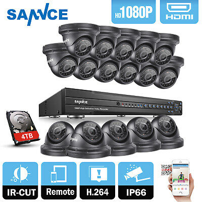 SANNCE Full 1080P Video 16CH DVR 2MP In/ Outdoor CCTV Security Camera System 4TB