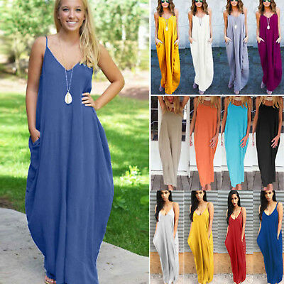 Plus Size Womens Boho Long Maxi Dress Loose Beach Holiday Casual Summer Sundress