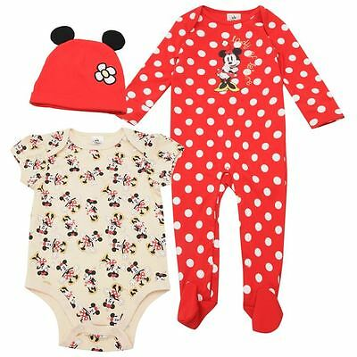 Girls ~ Minnie Mouse ~ 3 Piece Romper Set/Sleepsuit/Baby Gro ~Sizes 3-18 Months