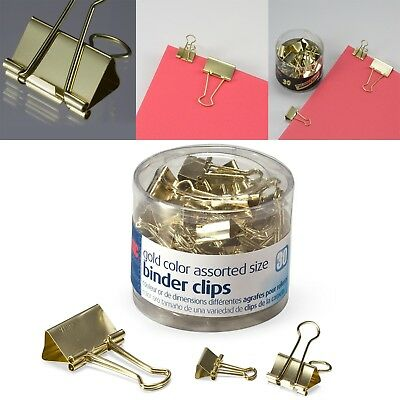 30 PCS Gold Binder Clips Assorted Sizes For Papers Document Holder Office School