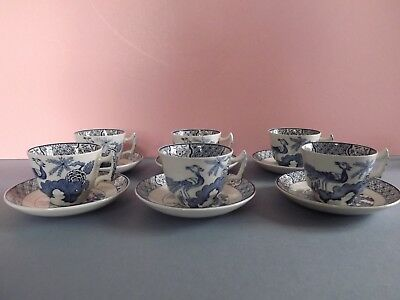 6 Vintage Woods YUAN Small Coffee Cups & Saucers