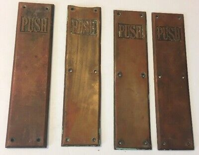 LOT OF 4(four) VINTAGE BRONZE ARCHITECTURAL SALVAGE PUSH DOOR PLATES