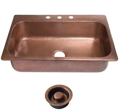 Drop In Kitchen Sink 33 In. 3 Hole Single Bowl Hammered Antique Copper Rectangle