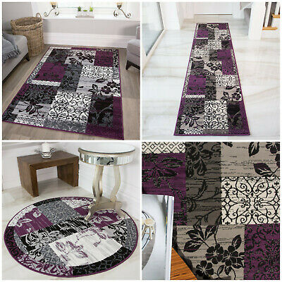 Purple Grey Patchwork Traditional Rug Cheap Circle Floral Rugs Runner Carpet Mat