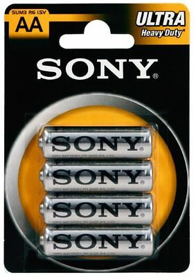 4 x SONY Heavy Duty ULTRA AA R6 SUM3 1.5V Carbon Zinc Batteries EXP:2020