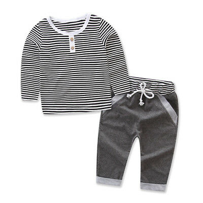 US STOCK Toddler Newborn Baby Boys Girls T-shirt Tops+Pants Outfits Set Clothes