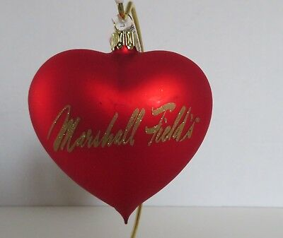 Marshall Fields Heart Ornament - I Love to Shop RED ornament