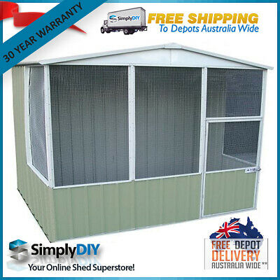 ABSCO BIRD AVIARY 3mW x 2.26mD GABLE ROOF DOG CAGE HIGH QUALITY PALE EUCALYPT