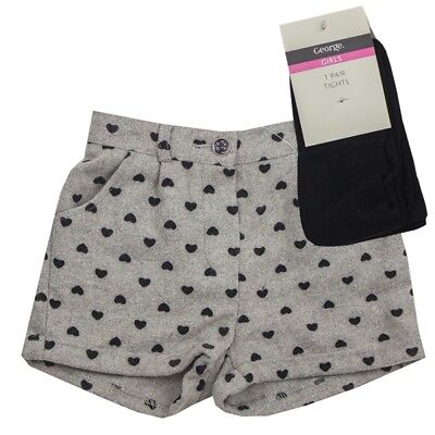 BABY GIRLS 2 Piece Grey Heart Shorts and Tights Set Outfit  2-5 years