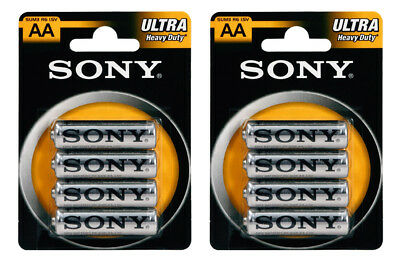 8 x SONY Heavy Duty ULTRA AA R6 SUM3 1.5V Carbon Zinc Batteries EXP:2020