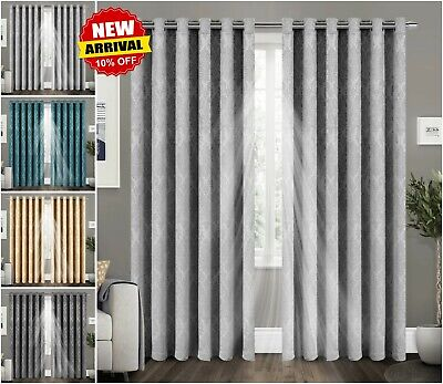 THERMAL BLACKOUT CURTAINS Eyelet Ring Top / Tape Top Pencil Pleat with Tie Backs