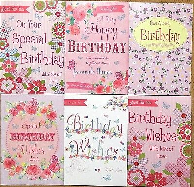 Pack Of 6 Female Ladies Birthday Cards Floral Open Greeting L1