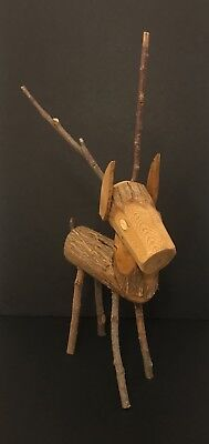Vintage 1970s 1973 Wooden Log Reindeer Figure Christmas Decor by W.W.