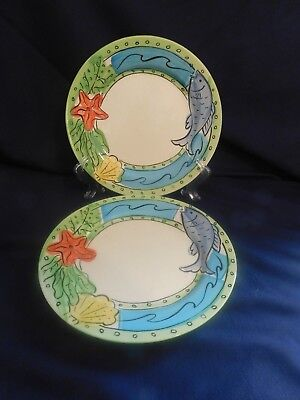 Sango China Hand Painted Key West 6101 Dinner Plates - 2 -B