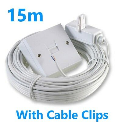 15M BT Telephone Master Socket/Box Line Extend Extension Cable Kit -15m Lead