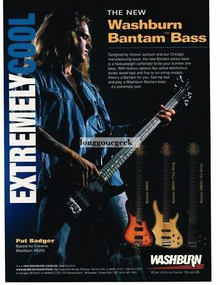 1994 Washburn XB200 Electric bass Guitar Pat Badger of Extreme  Magazine Ad