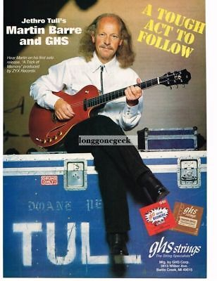1994 GHS Guitar Strings Martin Barre of Jethro Tull Magazine Ad
