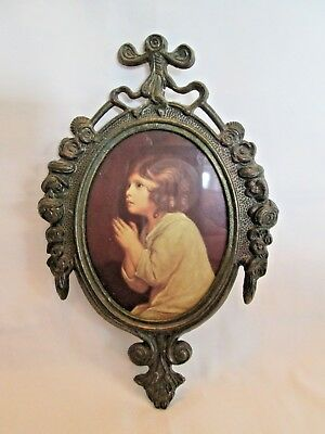 Vintage Italian Brass picture frame oval child in prayer old picture wall hangin