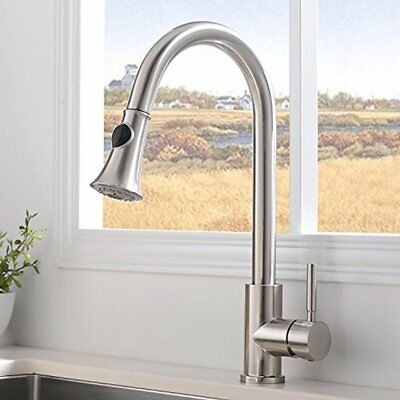Modern Kitchen Sink Faucet Pull Down Single Handle Single Lever Pull Out Sprayer