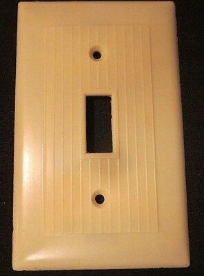 Vintage Beige Bakelite Ribbed Lines Switch Wall Plate Cover Snapit Art Deco