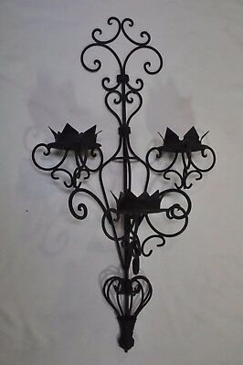 VINTAGE Wrought Iron Wall Sconce Candle Holder's GOTHIC SPANISH MIDEVIL