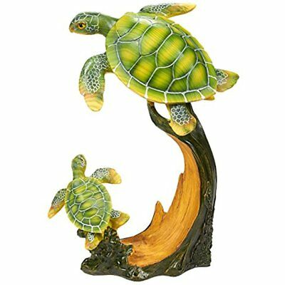 Turtle Sculpture Garden Statue Decor, Cute Resin Turtles Swimming Figurine For