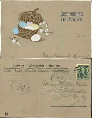Easter lily of valley woven basket colored eggs Arts and Crafts embossed c1910