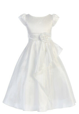 New White Taffeta Girls Dress First Communion Wedding Formal Party Easter 416