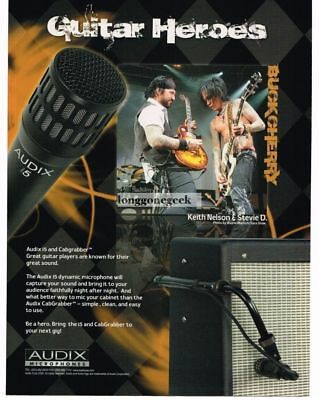 2010 AUDIX Microphones KEITH NELSON, STEVIE D. of Buckcherry Vtg Print Ad