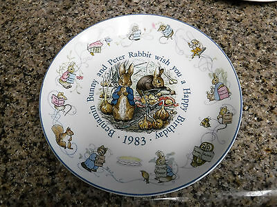 1983 WEDGWOOD ~ Benjamin Bunny and Peter Rabbit Wises You a Happy Birthday Plate