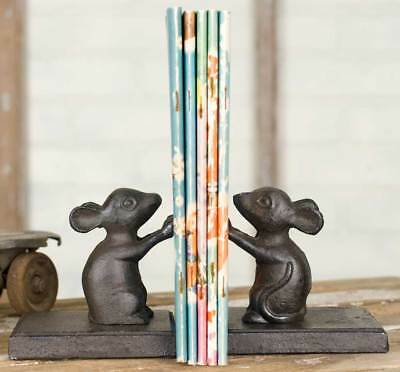 Cast Iron Mice Bookends - Rustic Vintage Distressed Primitive - Mouse - Library