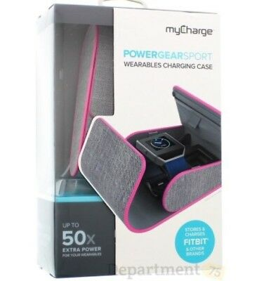 Fitbit charging case by myCharge Power Gear Sport Wearables in Grey & Pink New