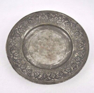 Vintage Ornamental Decorative Embossed Pewter Dish Plate Bowl Key Ash Tray Metal