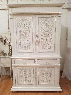 GORGEOUS ANTIQUE FRENCH PAINTED CARVED FRUITWOOD HOUSEKEEPERS CUPBOARD - c1900