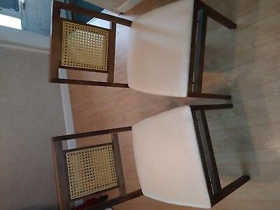 Set of 6 Vintage Stakmore Cane Back Mid-Century Modern Wood Folding Chairs