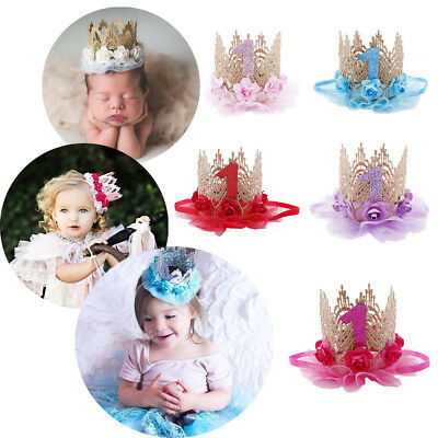 Toddler Baby Unisex Flower Sequin Crown 1st Birthday Party Hat Headband Hairband