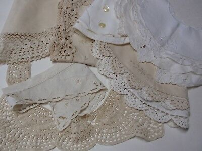 Vintage Ladies Group Lot Cotton Doily Collars Dickies Beige White China 10 Flora