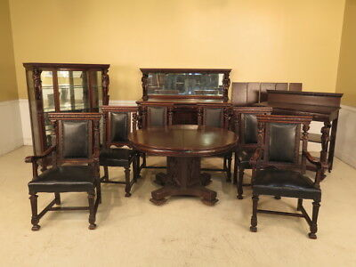 F23840E: Antique 10 Piece American Oak Dining Room Set w. Figures
