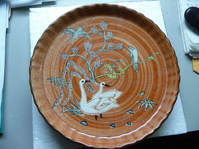 "Vtg Chinese pottery footed DISH hand painted Birds SIGNED  6 1/2""d Bowl"