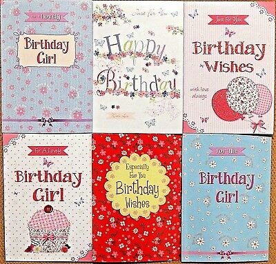 Pack Of 6 Childrens Girls Kids Birthday Cards Pack Of Female Birthday Cards / L2