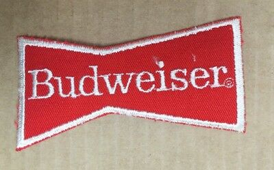 Budweiser Beer Red Bowtie Embroidered Patch Bud Anheuser-Busch NOS