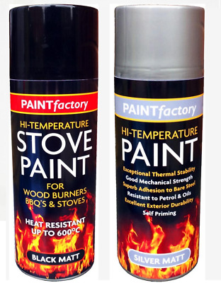 Stove Spray Paint High Temperature 600°C Heat Resistant Silver- Black Matt 400ml