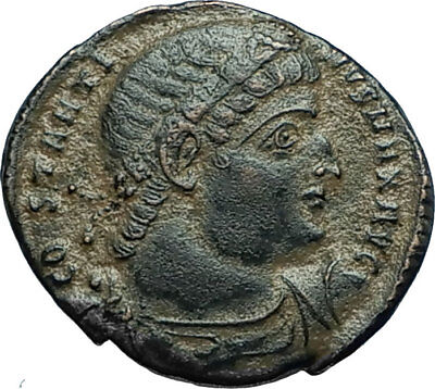 CONSTANTINE I the GREAT 330AD Authentic Ancient Roman Coin w SOLDIERS i66307