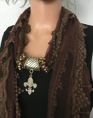 NEW 3 in1 Jewelry Scarf Brown Lace Scarf with Rhinestone Fleur-de-Lis Pendant