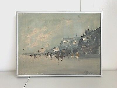 Vintage mid century impressionistic abstract oil painting seascape beach signed