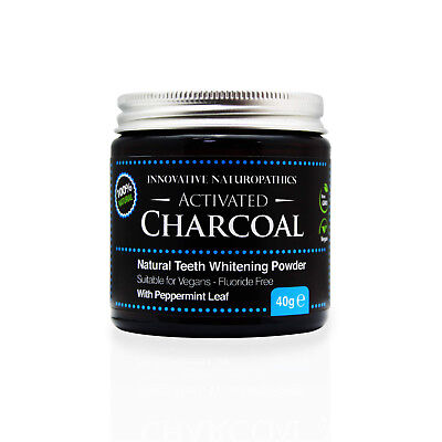Activated Charcoal Teeth Whitener with Natural Peppermint - 40g Glass Jar