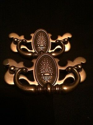 Vintage Pair of Brass Pulls Draw in Beautiful Design and Made in Canada