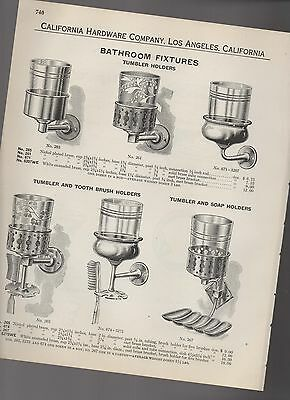 1927 catalog pages vintage BATH ROOM FIXTURES soap dish Tumbler toothbrush holde