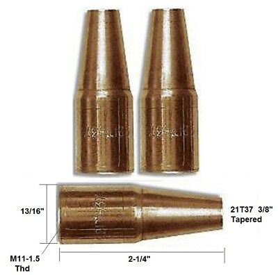 """2 Mig Welding Nozzles 21T37, 3/8"""" Tapered Fit Mini#1 & Lincoln Magnum 100"""
